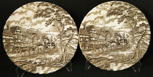 """Myott Royal Mail Dinner Plates 10"""" Brown Staffordshire England Set 2 