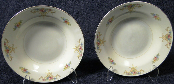 """Homer Laughlin Eggshell Nautilus Rochelle Soup Bowls 8 1/4"""" Set of 2 
