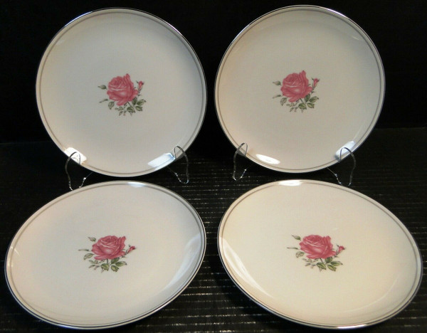 """Fine China of Japan Imperial Rose Salad Plates 7 7/8"""" Set of 4 