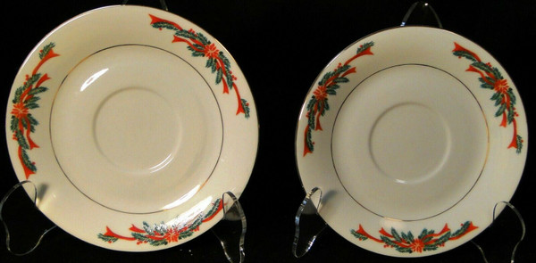 Poinsettia & Ribbon Saucers Christmas Fine China Tienshan Set of 2 | DR Vintage Dinnerware and Replacements