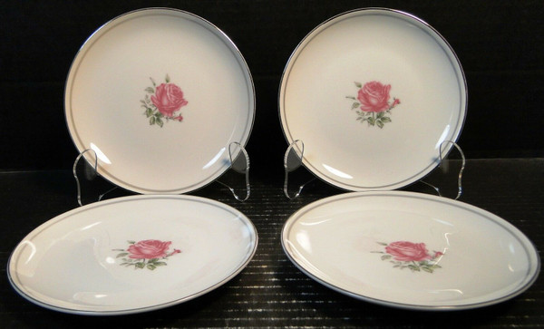 """Fine China of Japan Imperial Rose Bread Plates 6 3/8"""" Set of 4 