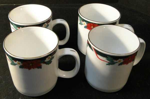 Tienshan Deck the Halls Cups Mugs 12 Oz Christmas Poinsettia Set of 4 | DR Vintage Dinnerware and Replacements