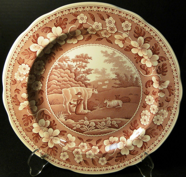 Spode Archive Collection Milkmaid Dinner Plate 10 3/8 Traditions Cranberry   DR Vintage Dinnerware and Replacements