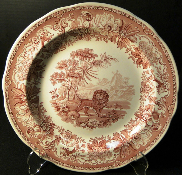 """Spode Archive Collection Aesops Fables Dinner Plate 10 3/8"""" Cranberry   DR Vintage Dinnerware and Replacements"""