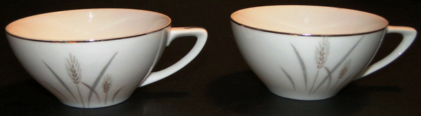 Fine China of Japan Platinum Wheat Tea Cups Set of 2 | DR Vintage Dinnerware Replacements