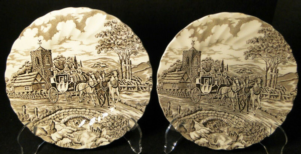 """Myott Royal Mail Bread Plates 6 1/4"""" Brown Staffordshire England Set 2 
