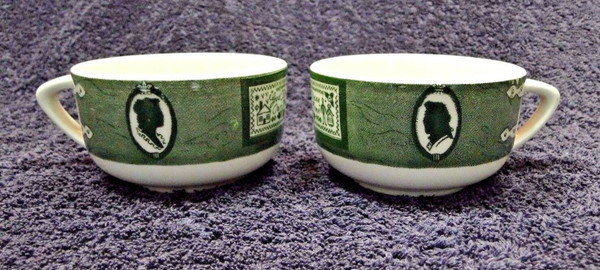 Colonial Homestead Royal China Green Cups God Bless our Home Set of 2 | DR Vintage Dinnerware Replacements