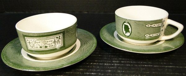 Colonial Homestead Royal China Cup Saucer Sets God Bless our Home 2 | DR Vintage Dinnerware Replacements