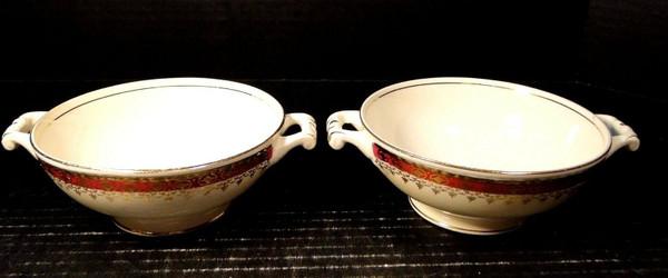Homer Laughlin Monarch Handled Cream Soup Bowls Eggshell Georgian Set of 2 | DR Vintage Dinnerware Replacements