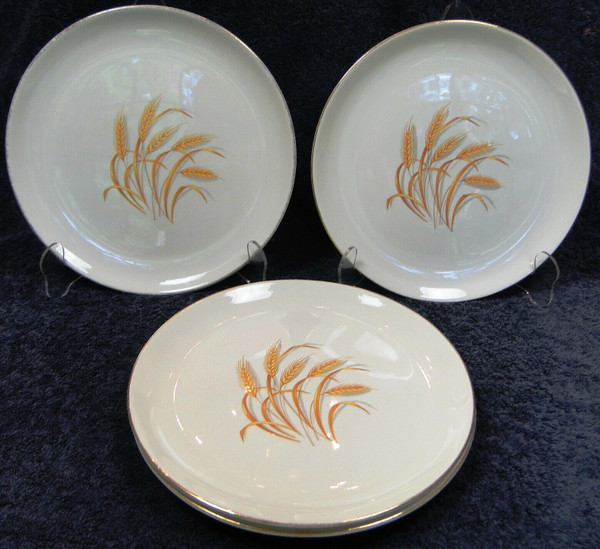 """Homer Laughlin Golden Wheat Dinner Plates 9 1/4"""" Set of 4 