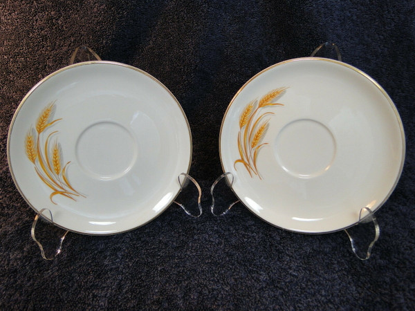 Homer Laughlin Golden Wheat Saucers Gold Trim Set of 2 | DR Vintage Dinnerware Replacements