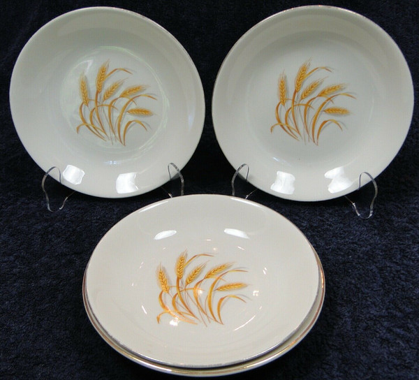 """Homer Laughlin Golden Wheat Soup Bowls 7 1/2"""" Salad Pasta Set of 4   DR Vintage Dinnerware Replacements"""