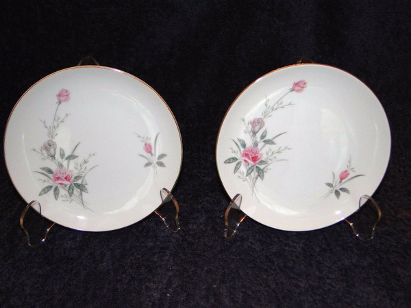 Fine China of Japan Golden Rose Bread Plates Set of 2 | DR Vintage Dinnerware and Replacements