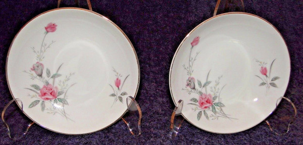 """Fine China of Japan Golden Rose Soup Bowls 7 1/2"""" Set of 2   DR Vintage Dinnerware and Replacements"""
