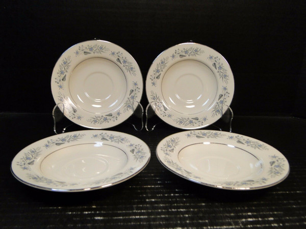 "Homer Laughlin Cavalier Saucers 6"" CV125 White Floral Set 4 