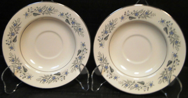 """Homer Laughlin Cavalier CV125 Saucers 6"""" White Floral Set 2   DR Vintage Dinnerware and Replacements"""