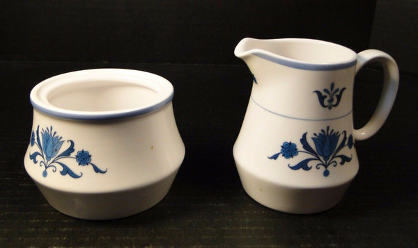 Noritake Blue Haven Creamer Sugar Set 9004 Progression | DR Vintage Dinnerware and Replacements