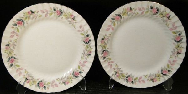 """Creative Regency Rose Dinner Plates 10 3/8"""" 2345 Pink Roses Set of 2 