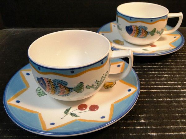 Mikasa Ocean Collage Tea Cup Saucer Sets DX102 TWO Sets | DR Vintage Dinnerware Replacements