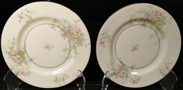 "Theodore Haviland NY Apple Blossom Bread Plates 6 1/2"" Set of 2 