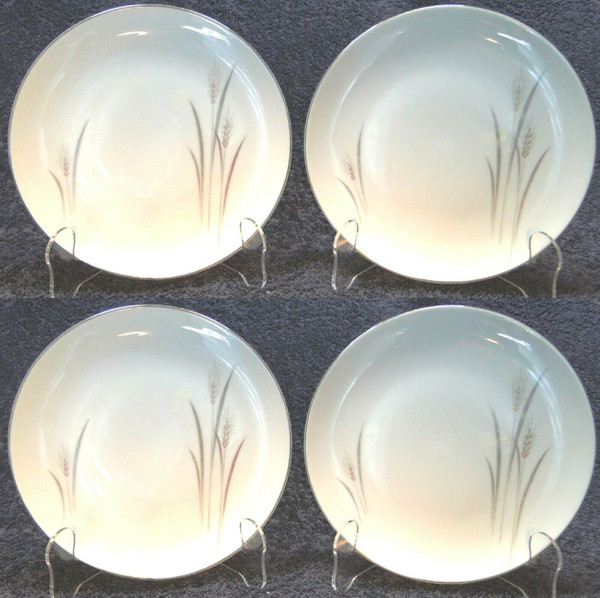 """Fine China of Japan Platinum Wheat Bread Plates 6 3/8"""" Set of 4 