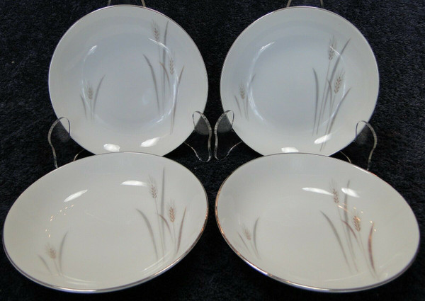 """Fine China of Japan Platinum Wheat Berry Bowls 5 1/2"""" Fruit Set of 4 