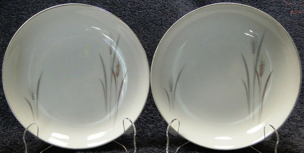 """Fine China of Japan Platinum Wheat Soup Bowls 7 1/2"""" Salad Set of 2 