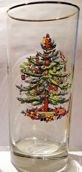 """Spode Christmas Tree Glass High Ball 12 Oz 6 1/4"""" Tall 