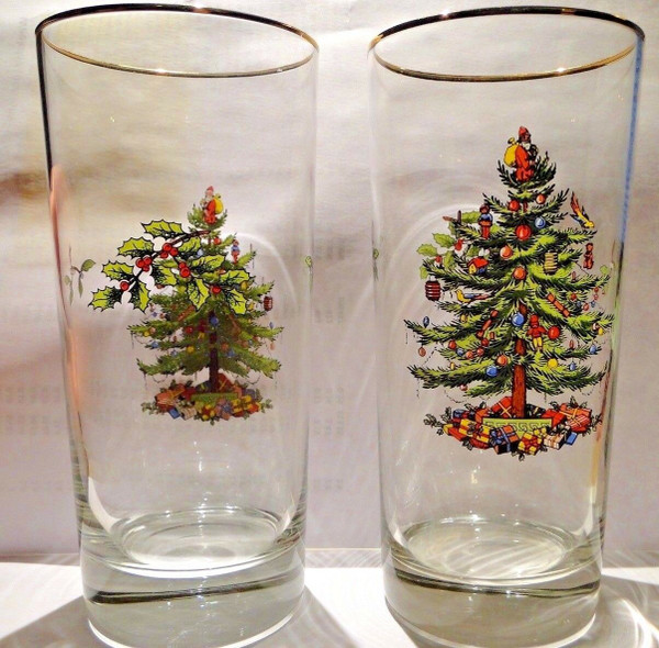 """Spode Christmas Tree Glasses HighBall 12 Oz 6 1/4"""" Tall Set of 2 