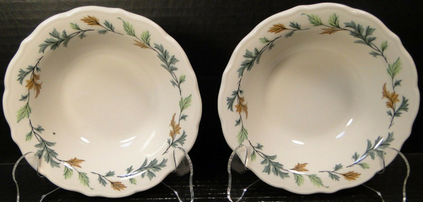 """Syracuse SY185R Cereal Bowls 6 1/4"""" Vtg Restaurant Ware Green Leaves Set of 2 