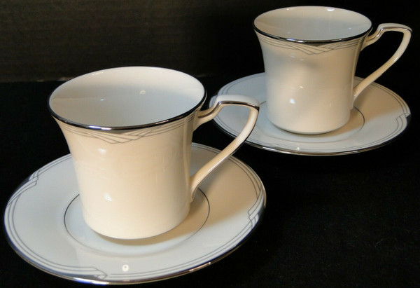 Noritake Sterling Cove Tea Cup Saucer Sets 7720 Silver Trim White    DR Vintage Dinnerware Replacements