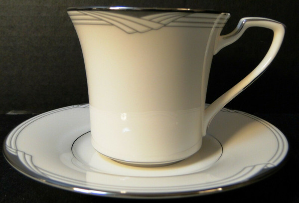 Noritake Sterling Cove Tea Cup Saucer Set 7720 Silver Trim White    DR Vintage Dinnerware Replacements