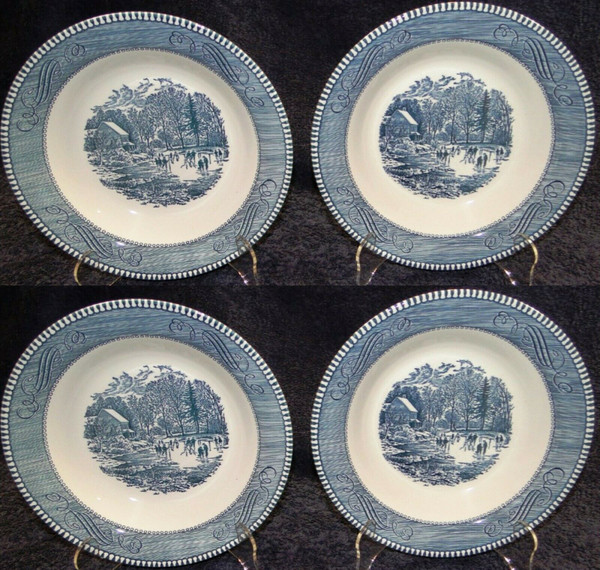 Currier Ives Royal China Blue White Soup Bowls Early Winter Set of 4 | DR Vintage Dinnerware Replacements