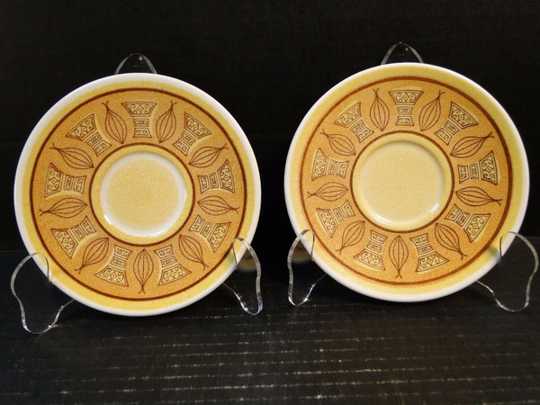 """Taylor Smith Taylor Honey Gold Saucers 5 7/8"""" Set of 2   DR Vintage Dinnerware Replacements"""