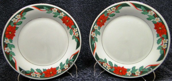 """Tienshan Deck the Halls Salad Plates 7 1/2"""" Christmas Poinsettia Set of 2 