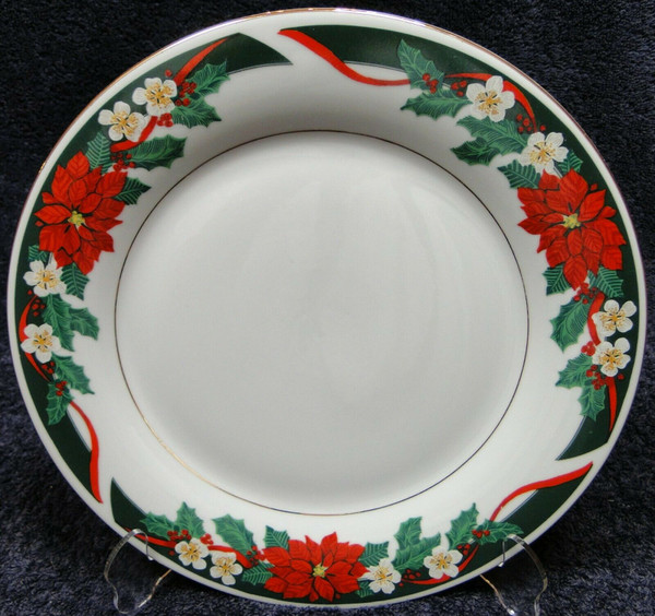 """Tienshan Deck the Halls Dinner Plate 10 5/8"""" Christmas Poinsettia   DR Vintage Dinnerware and Replacements"""