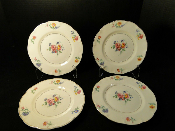 "Theodore Haviland NY Chapelle Salad Plates 7 5/8"" Set of 4 