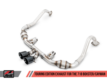 AWE Touring Edition Exhaust for Porsche 718 (17-19) Boxster / Cayman - Carbon Fiber Tips