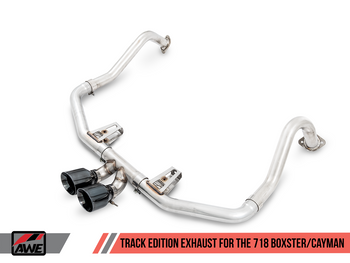 AWE Track Edition Exhaust for Porsche 718 (17-19) Boxster / Cayman - Carbon Fiber Tips