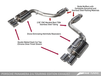 AWE Touring Edition Exhaust for 970 Panamera 2/4 (2011-2013) -- With Chrome Silver Tips