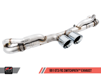AWE SwitchPath™ Exhaust for Porsche 991 (15-19) GT3 / RS - Chrome Silver Tips