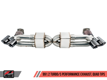 AWE Performance Exhaust and High-Flow Cat Sections for Porsche 991.2 Turbo - With Diamond Black Quad Tips
