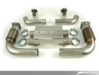 AWE Performance Muffler with 200 Cell Cats for 997 (08-10) GT2 - Chrome Silver Tips