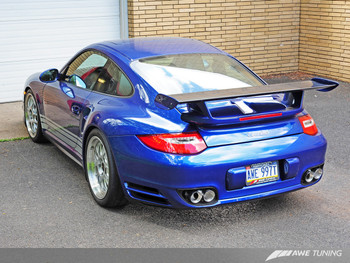 AWE Polished Silver Quad Tips for 997.2 (10-12) Turbo and Turbo S