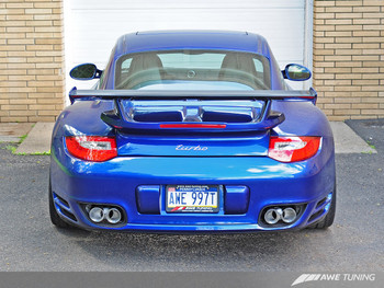 AWE Performance Exhaust for Porsche 997.2 (10-12) Turbo / S - Polished Silver Quad Tips