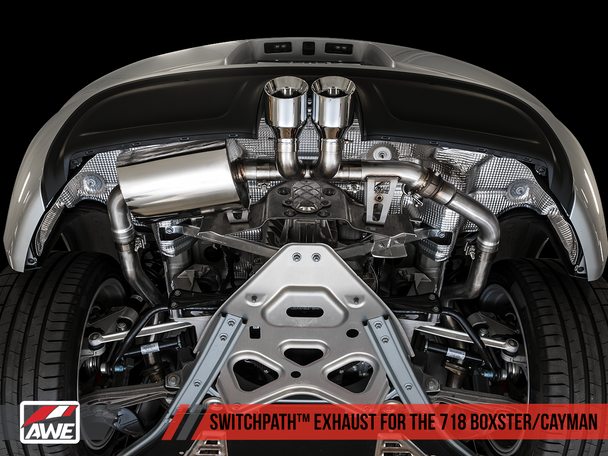 AWE SwitchPath™ Exhaust for Porsche 718 (17-19) Boxster / Cayman (PSE Only) - Chrome Silver Tips