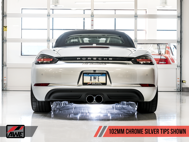 AWE Track Edition Exhaust for Porsche 718 (17-19) Boxster / Cayman - Chrome Silver Tips