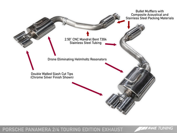 AWE Touring Edition Exhaust for 970 Panamera 2/4 (2014+) -- With Chrome Silver Tips