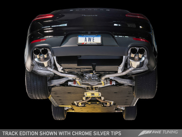 AWE Track Edition Exhaust for 970 Panamera 2/4 (2014+) -- With Chrome Silver Tips