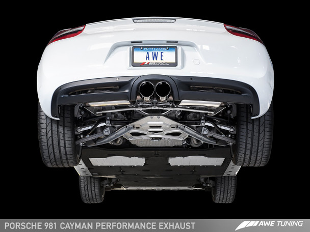 AWE Performance Exhaust System for Porsche 981 (13-16) - With Diamond Black Tips